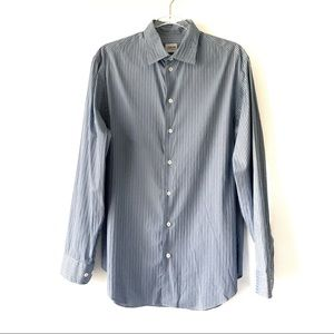 Armani Collezioni Blue Gray Striped Dress Shirt M